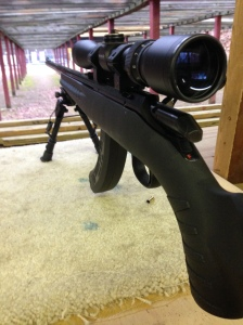 Ruger American Rimfire at the range.