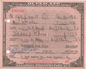 "A Prohibition era prescription for ""spiritus frumenti"" otherwise known as whiskey."